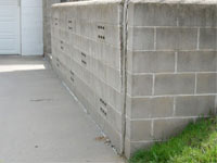 A retaining wall separating from the adjoining walls in Orangeville