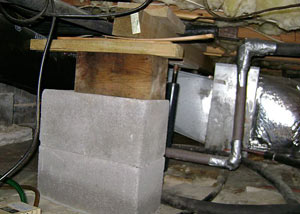 a poorly designed crawl space support system installed in a Guelph home