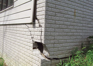 A severely damaged foundation wall in Burlington